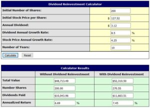 SJM Divividend Reinvestment Calculator 4.25% stock price growth rate