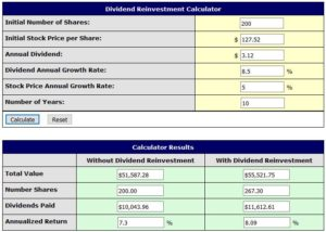 SJM Divividend Reinvestment Calculator 5% stock price growth rate